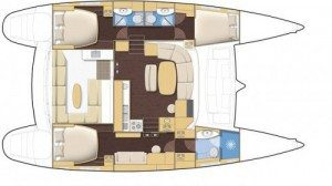 Lagoon 440 Catamaran 4C 3H Layout