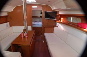 The interior of our Jeanneau 37 is light and spacious.