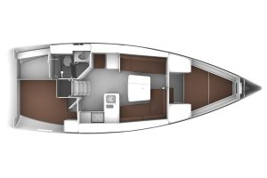 Bavaria Cruiser 37 2 Cabins 1 Head Layout