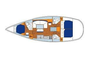 Jeanneau 44i 3 Cabin 3 Head Layout