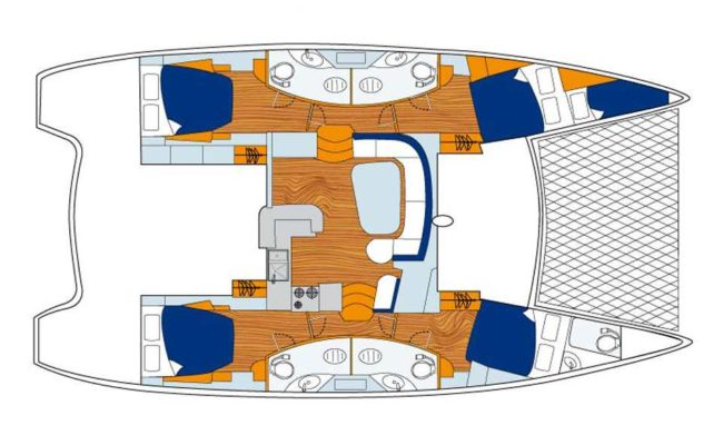 Leopard 46 Catamaran 4 Cabins 4 Heads layout