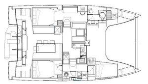 Nautitech Open 40 catamaran 3 Cabin 2 Head Layout