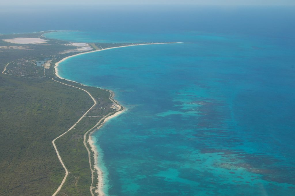 Aerial view of Cocopoint anchorage on Barbuda - sailing from Horizon in Antigua