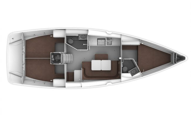 Bavaria 41 Layout 3 Cabins 2 Heads
