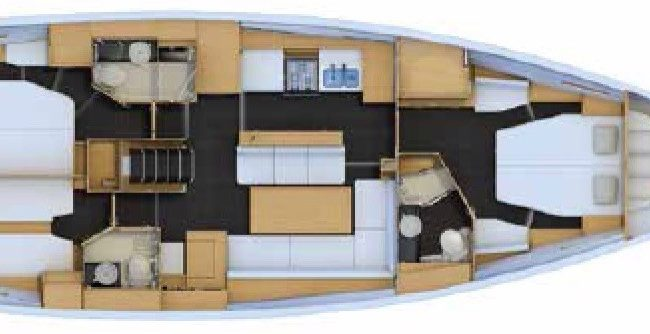 Jeanneau 54 3 Cabin 2 Head layout