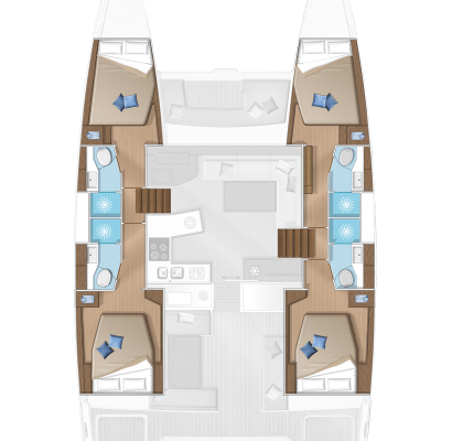 Lagoon 450 Flybridge 4 Cabins 4 Heads Layout