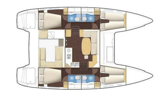 Lagoon 400 charter catamaran 4 Cabins 4 Heads Layout