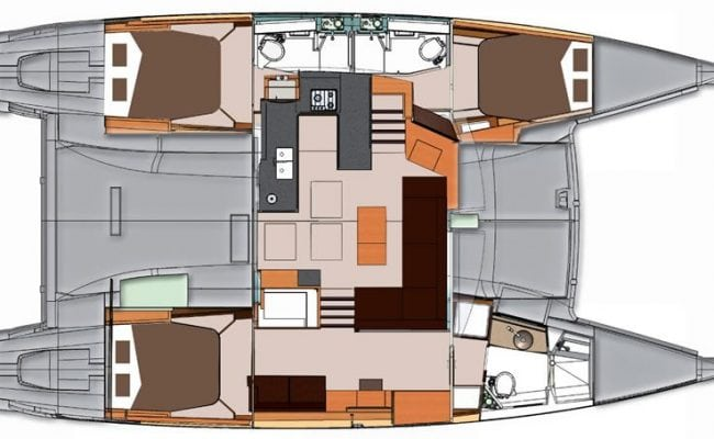 Helia 44 Charter Catamaran 3 Cabins 3 Heads Layout