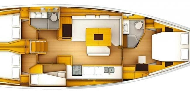 Sun Odyssey 519 4 Cabins 2 Heads Layout