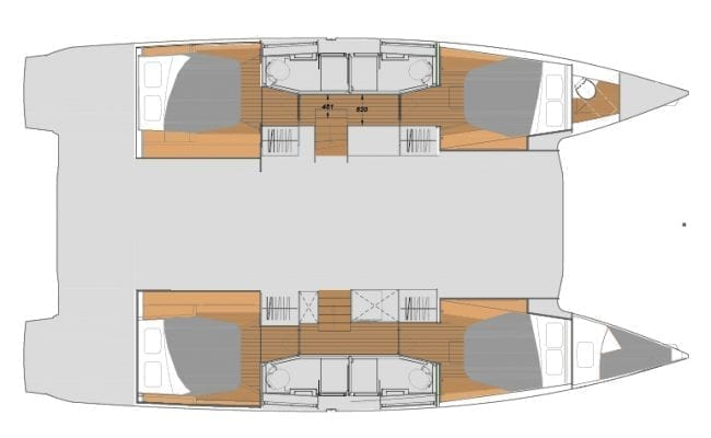 New Fountaine Pajot Elba 45 4C 4H Layout